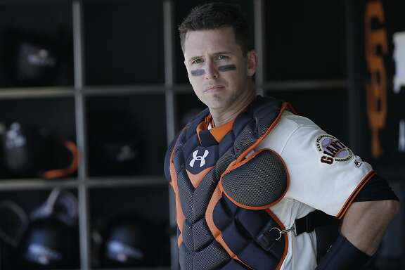 San Francisco Giants catcher Buster Posey before a baseball game against the Kansas City Royals in San Francisco, Wednesday, June 14, 2017. (AP Photo/Jeff Chiu)