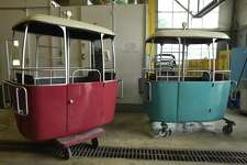 Gondolas refurbished by St. Philip's College students at the Collision Refinishing Lab on Quintana Road sit at the facility before being moved to Hemisfair Park on Tuesday, June 27, 2017. The gondolas were used at Brackenridge Park from 1964.