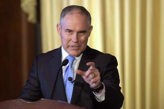 FILE - In this Feb. 21, 2017, file photo, Environmental Protection Agency (EPA) Administrator Scott Pruitt speaks to employees of the EPA in Washington. (AP Photo/Susan Walsh, File)