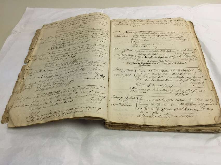 The Adgate ledger, which includes notes on cases heard by the justice of the peace for Albany County between 1772 and 1775 during the volatile Revolutionary War period. run-up to the Revolutionary War. (Paul Grondahl / Times Union)