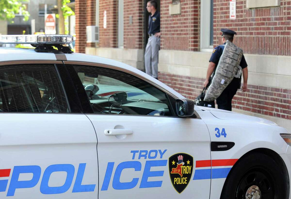 Troy Police headquarters on Friday Aug. 29, 2014 in Troy, N.Y. Troy police announced Friday they are putting another 20 officers on the street in the wake of recent violence.(Michael P. Farrell/Times Union)