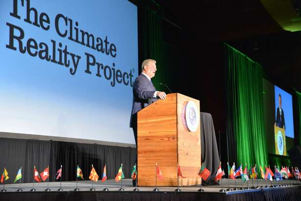 Former Vice President Al Gore speaks at a Climate Reality Project training program at the Meydenbauer Center in Bellevue on June 27, 2017.