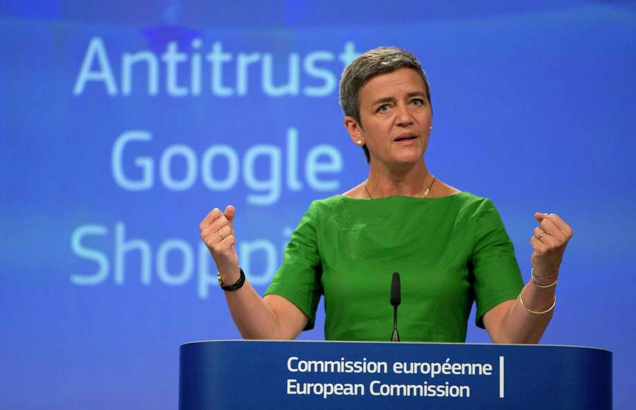 European Union Commissioner for Competition Margrethe Vestager said her agency's years-long probe left no doubt that Google needed to be reined in. Photo: Virginia Mayo, STF / Copyright 2017 The Associated Press. All rights reserved.