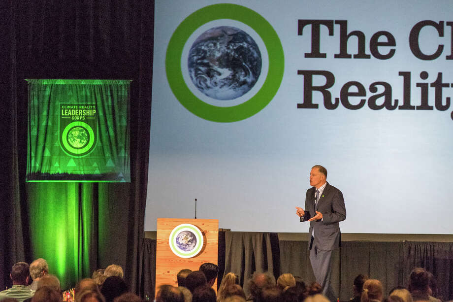 Washington Gov. Jay Inslee speaks at a training program for Al Gore's Climate Reality Project at the Meydenbauer Center in Bellevue on June 27, 2017. Gore and Inslee are old buddies. Photo: Climate Reality