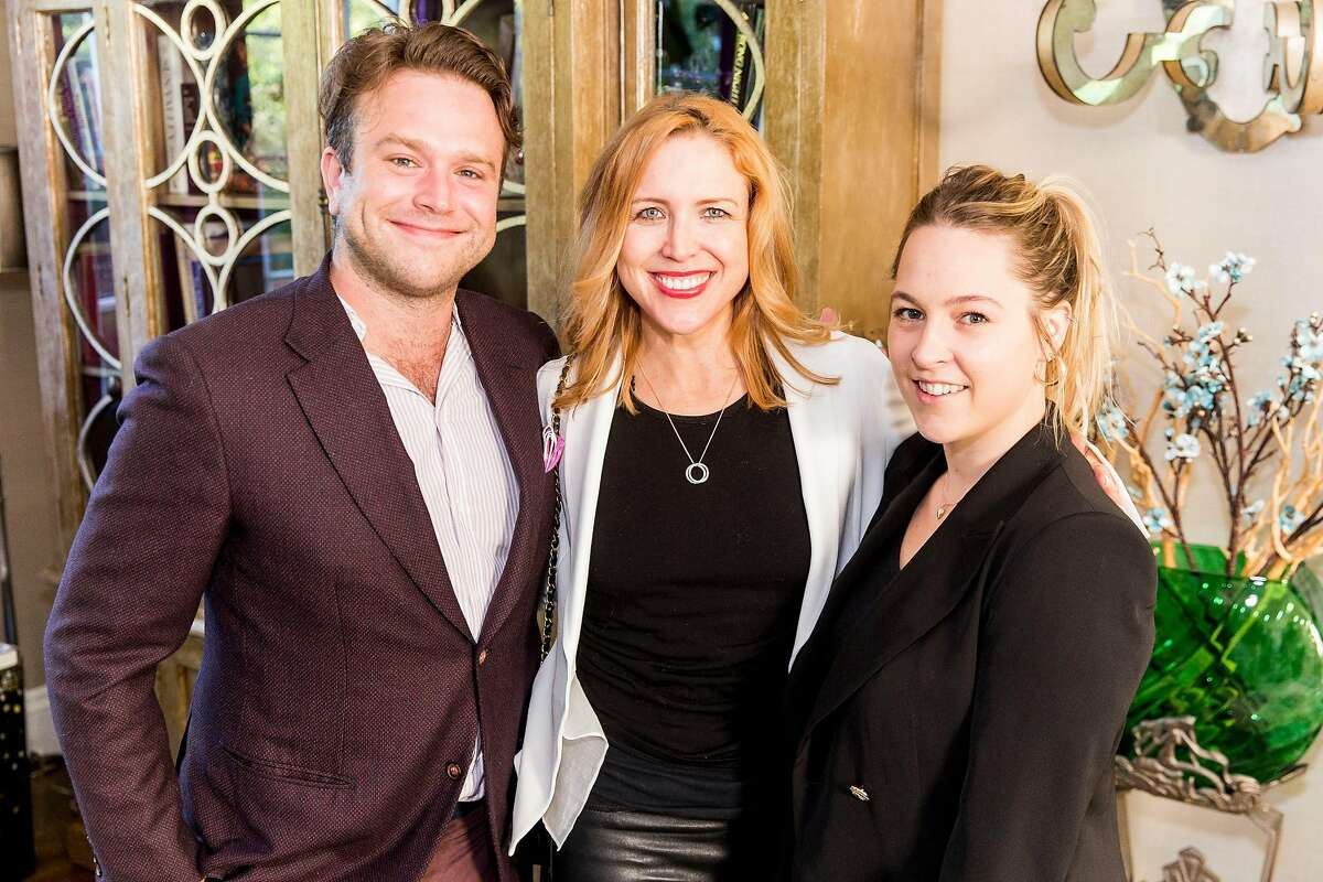 Party host Zak Williams with Hollywood producer Laura Rister and Emma Holling Jones at a launch party in San Francisco for luxury cannabis brand Beboe.