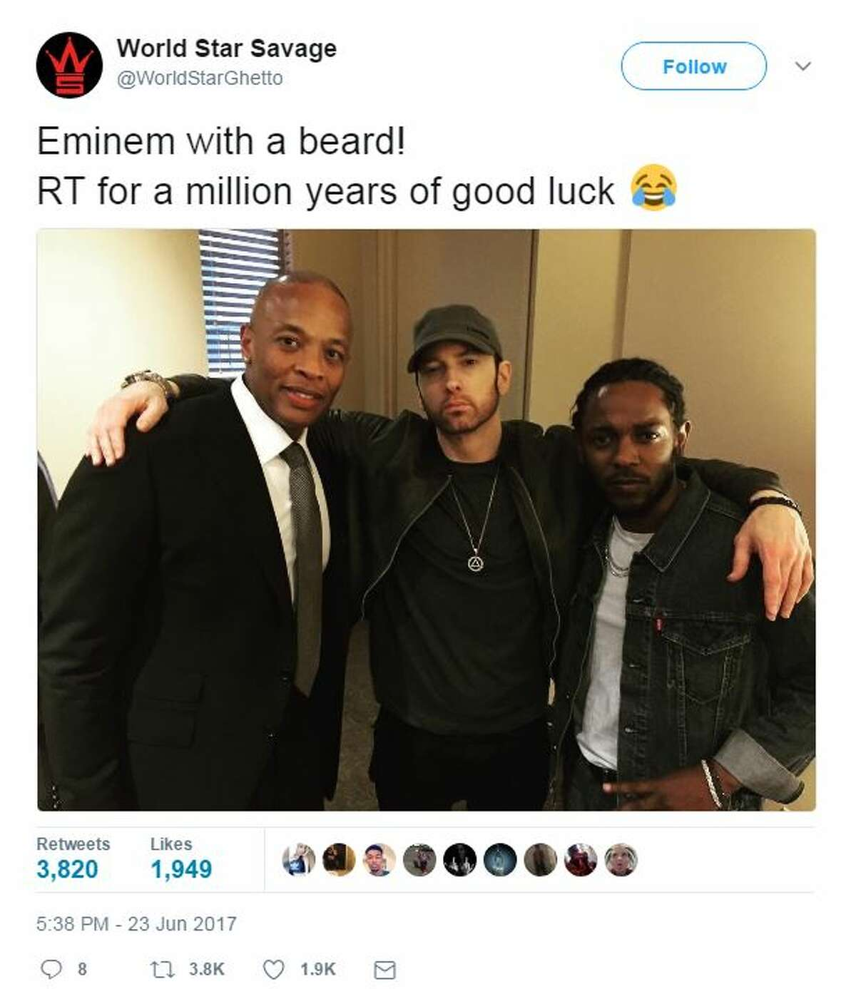Eminem with a beard! RT for a million years of good luck.