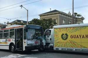 Nine people were taken to a hospital Tuesday afternoon after a 24-Divisadero Muni bus slammed head-on into a delivery truck in the Castro District of San Francisco on Tuesday, June 27, 2017.