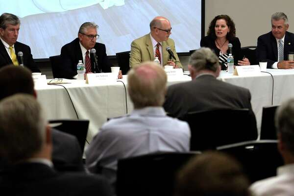 The Times Union?s Casey Seiler, center, moderates a post session summery of the 2017 session with senators Neil Breslin, left, James Tedisco and asssemblymembers Patricia Fahy and Steve McLaughlin, right, on Tuesday, June 26, 2017, at the Hearst Media Center in Colonie, N.Y.  (Skip Dickstein/Times Union)