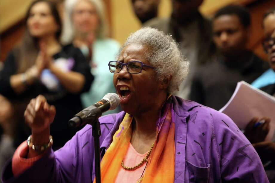 Rev. Harriett Walden, co-founder of Mothers for Police Accountability, speaks as hundreds attend a city hall hearing with the Seattle City Council over the killing of Charleena Lyles by Seattle police officers, Tuesday, June 27, 2017 at UW's Kane Hall. Photo: GENNA MARTIN, SEATTLEPI.COM / SEATTLEPI.COM