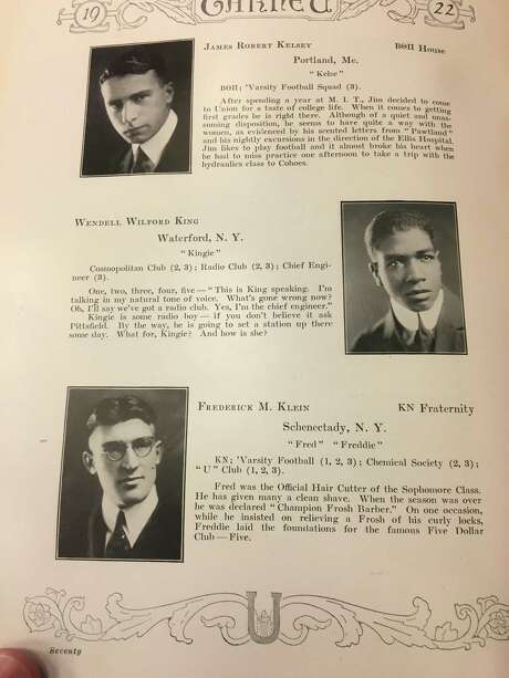 A page from a 1922 copy of The Garnet, the Union College yearbook. Wendell King's entry is in the middle. He lived in Waterford at the time. Photo: Union College