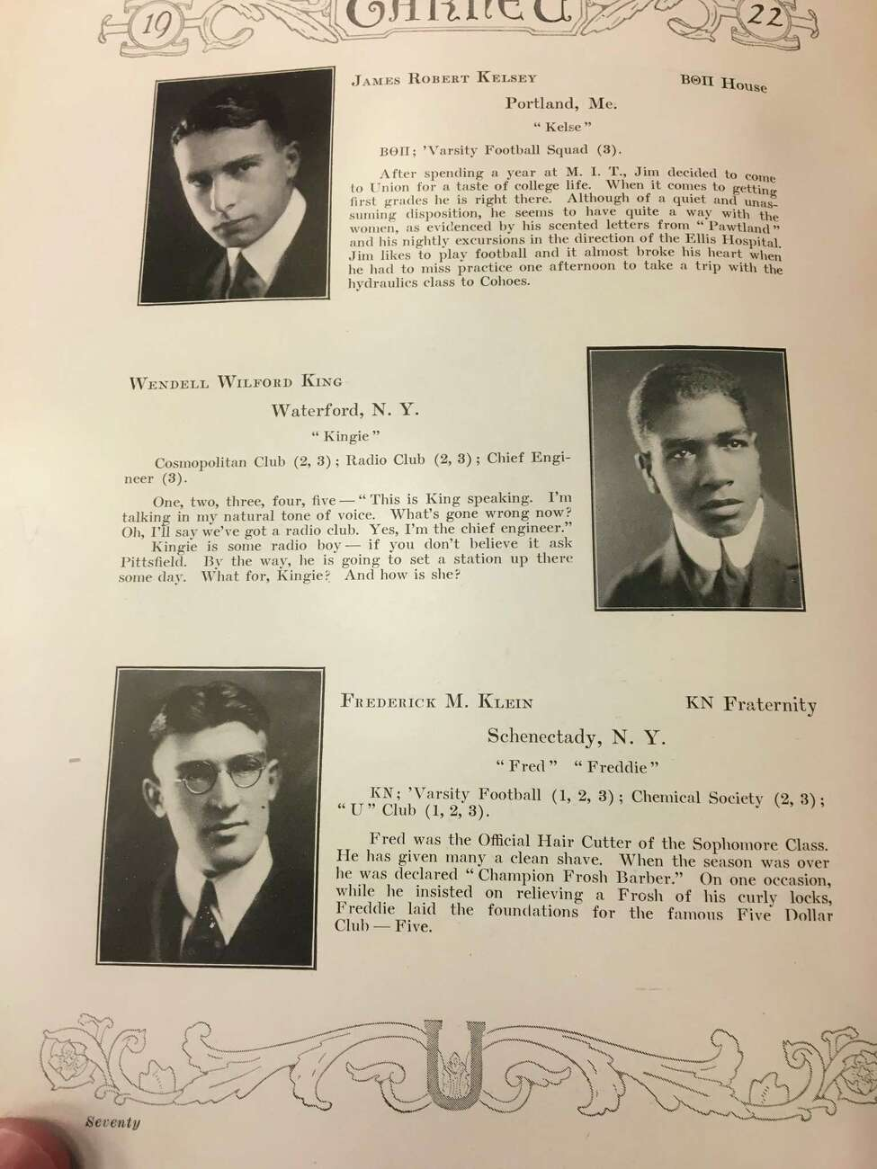 A page from a 1922 copy of The Garnet, the Union College yearbook. Wendell King's entry is in the middle. He lived in Waterford at the time.