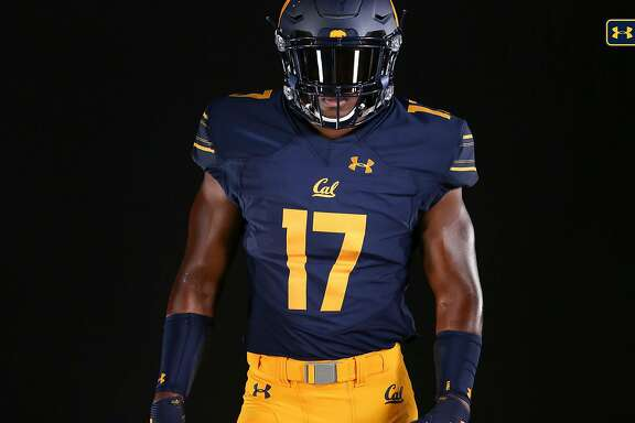 Front of Cal's new home football jerseys.