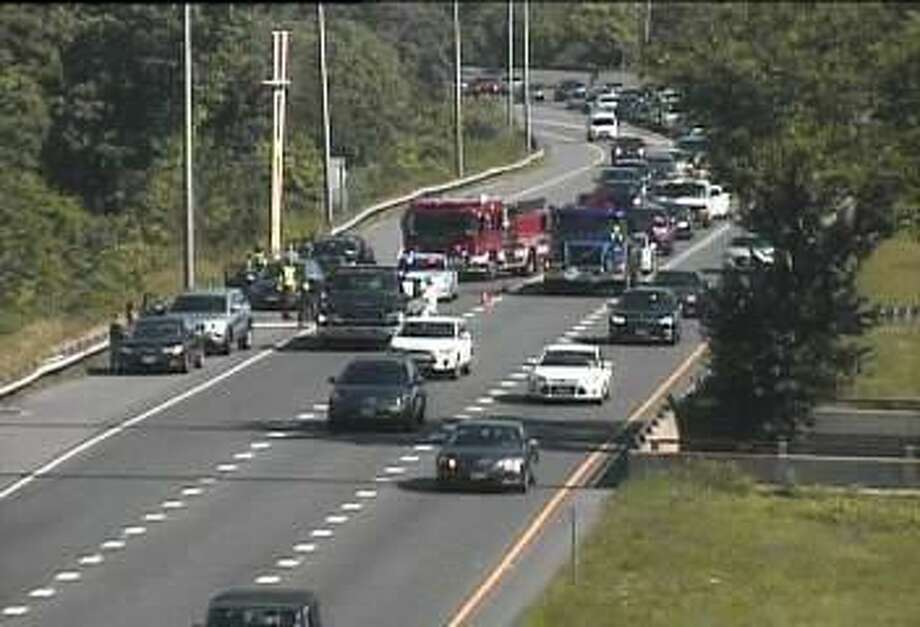 A two-vehicle accident on southbound Route 7 closed the right lane on Wednesday, June 28, 2017. Photo: State DOT