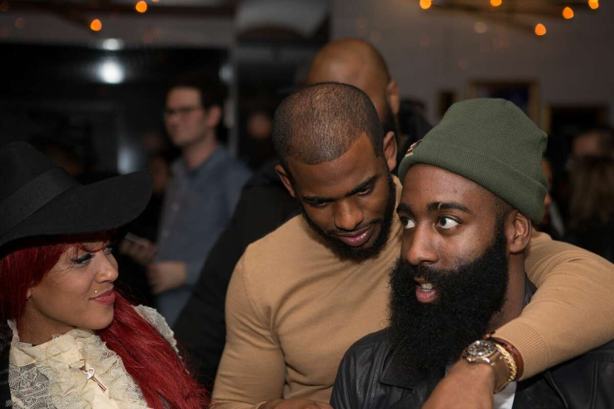 TORONTO, CANADA - FEBRUARY 11:Calyann Barnett-Watson, Chris Paul and James Harden during the Dwyane Wade and Stance Stocks Spades Tournament at The One Eighty on February 11, 2016 in Toronto, Canada. (Photo by Bobby Metelus/Getty Images)