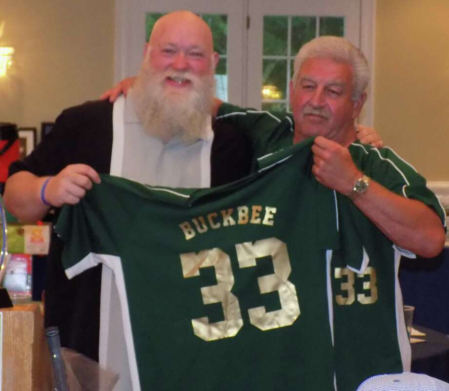 State Representative Bill Buckbee (R-67 th ) was named the honoree of this year's Timmy Spada Golf Classic. He received a jersey with the late Spada's high school number. Photo: Courtesy Of The Timmy Spada Memorial Foundation / The News-Times Contributed