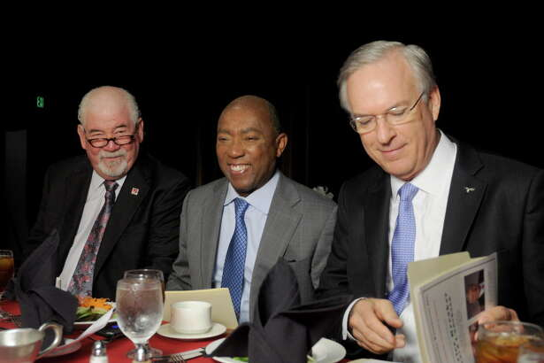 From left: Gary Tuma, Mayer Sylvester Turner and Judge Robert Echols at the 21st Annual Barrier Breaker Award Luncheon benefitting the Career and Recovery Resources at the Hyatt Regency Hotel Tuesday June 27, 2017. (Dave Rossman Photo)