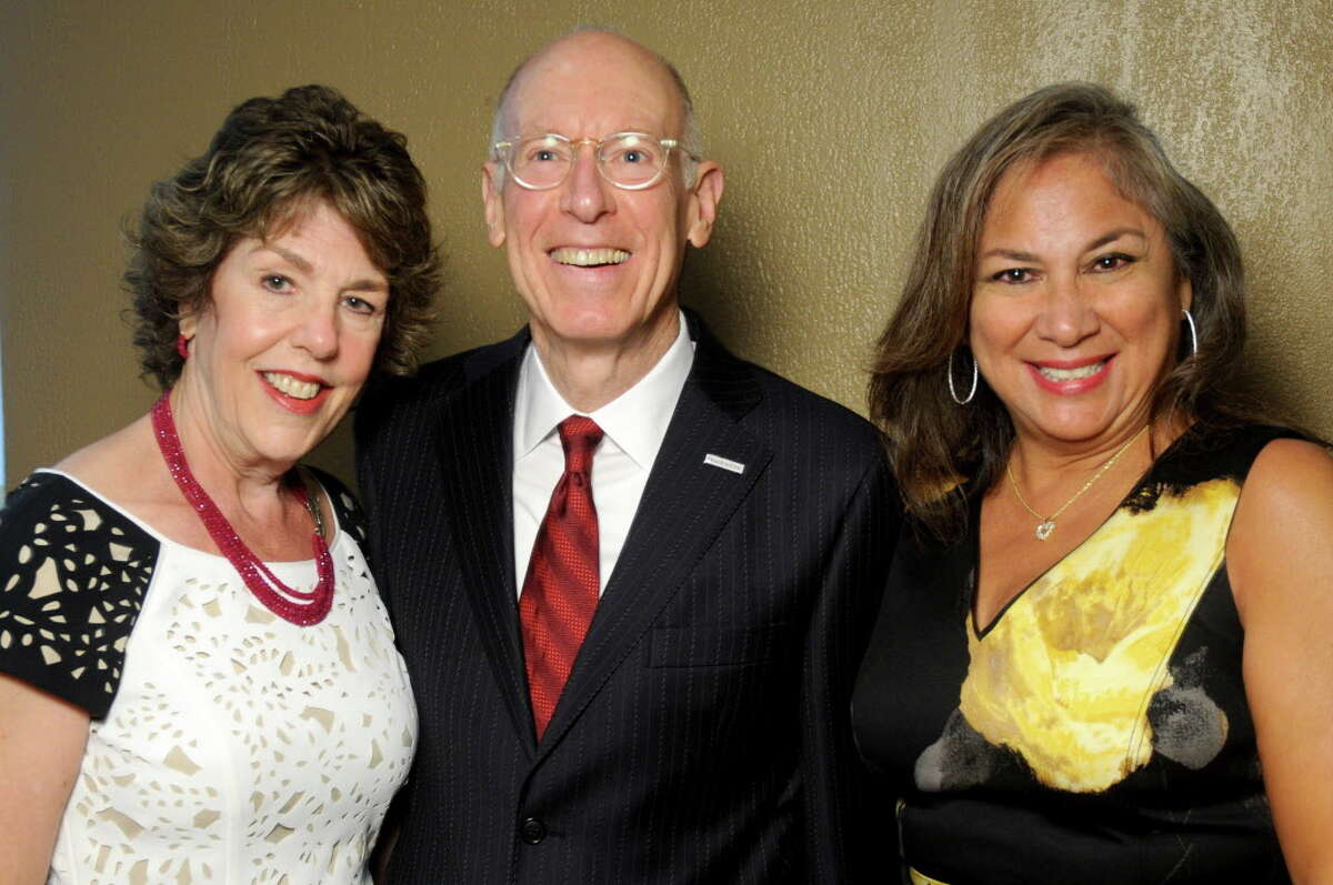 From left: Lainie Gordon, David Mincberg and Cynthia Cisneros at the 21st Annual Barrier Breaker Award Luncheon benefitting the Career and Recovery Resources at the Hyatt Regency Hotel Tuesday June 27, 2017. (Dave Rossman Photo)