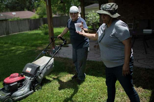 Juan Rodriguez picks up water his wife Celia Rodriguez brings him as they clean their backyard, Tuesday, June 27, 2017, in Houston. Photo: Marie D. De Jesus, Houston Chronicle / © 2017 Houston Chronicle