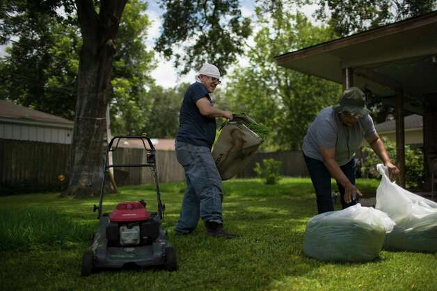 Juan Rodriguez and his wife Celia Rodriguez dispose grass while cleaning their backyard, Tuesday, June 27, 2017, in Houston. Photo: Marie D. De Jesus, Houston Chronicle / © 2017 Houston Chronicle