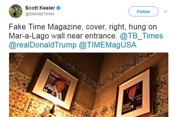 President Donald Trump is accused of creating fake Time covers that feature him and hanging them in his golf clubs.   Image source:  Twitter