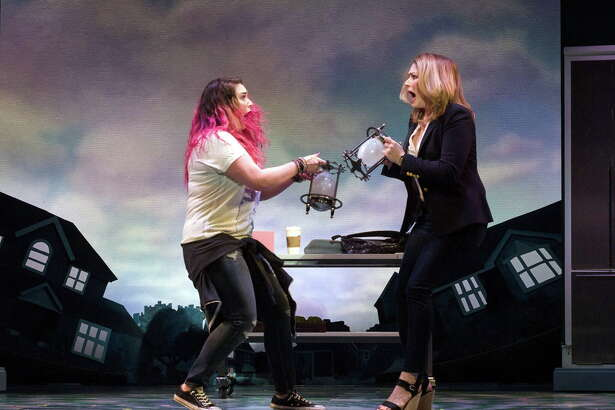"""Emma Hunton (left) andHeidi Blickenstaff inDisney's""""Freaky Friday,"""" appearing at the Alley Theatre in Houston."""