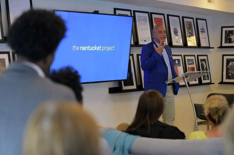 Jeff Grant speaks at the Nantucket Project Library about his life before a small group of residents on Tuesday, June 27, 2017 in Greenwich, Connecticut. Grant became addicted to prescription pain killers after an injury in 1992, his law firm in Westchester County, New York began to fail and in the haze of a nearly decade-long addiction to Demerol, Grant made the fateful decision that would change his life. He ended up in prison for committing fraud. Photo: Matthew Brown / Hearst Connecticut Media / Stamford Advocate