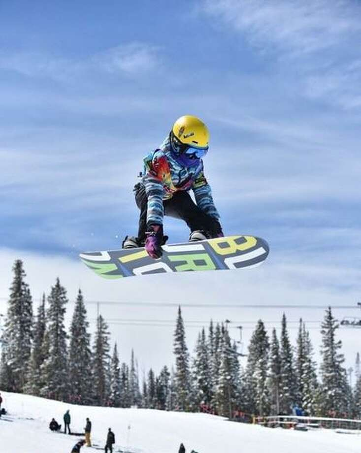New Canaan rising sixth-grader Sumner Orr gets big air at Nationals this past April in Colorado. Orr finished eighth overall in the 10-11 age group. Photo: Contributed Photo / New Canaan News contributed