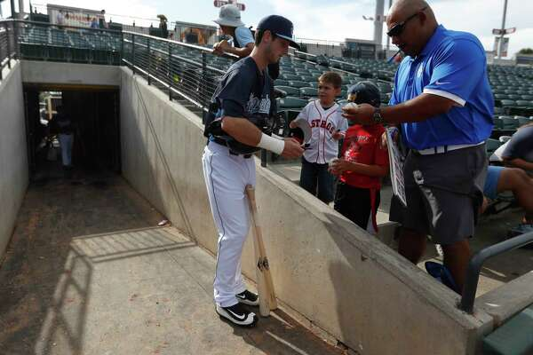 2801e0f76103d9 3of4Hooks outfielder Kyle Tucker (12) signs autographs for fans before the  start of the Hooks' game against Frisco on June 25, 2017, at Whataburger  Field in ...