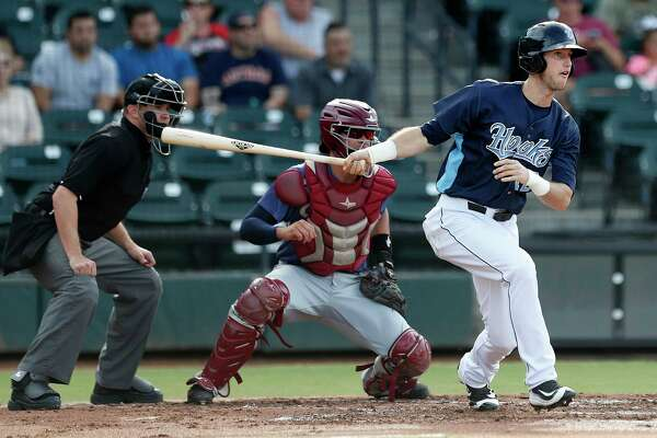 Corpus Christi Hooks outfielder Kyle Tucker (12) at bat during the Hooks minor league game at Whataburger Field, Sunday, June, 25, 2017.  ( Karen Warren / Houston Chronicle )