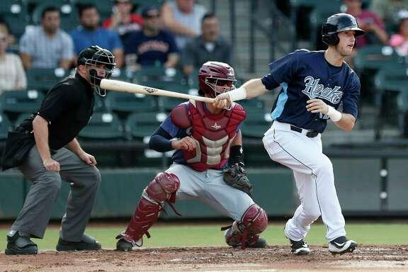 Corpus Christi Hooks outfielder Kyle Tucker (12) at bat during the Hooks minor league game at Whataburger Field, Sunday, June, 25, 2017.  ( Karen Warren / Houston Chronicle )