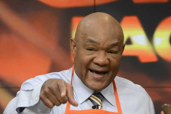 THE CHEW - 4/28/15 - Boxing champ George Foreman helps to celebrate the Spring Spectacular on THE CHEW, airing MONDAY - FRIDAY (1-2pm, ET) on the ABC Television Network. (Photos by Ida Mae Astute/ABC via Getty Images)