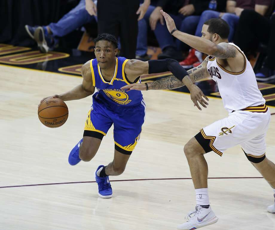 Golden State Warriors guard Patrick McCaw (0) drives on Cleveland Cavaliers guard Deron Williams (31) in the second half of Game 4 of basketball's NBA Finals in Cleveland, Friday, June 9, 2017. (AP Photo/Ron Schwane) Photo: Ron Schwane, Associated Press