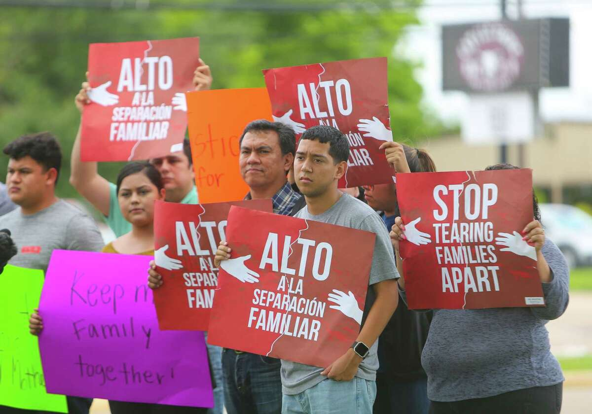 Friends and family of Lucia Montes, who was detained by Deer Park police during a Monday traffic stop, stand outside of the Deer Park Police Department before a press conference, Wednesday, June 28, 2017, in Deer Park. Garcia was driving with her mother, Lucia Montes, when Montes was stopped for not having a front license plate on her car. Montes has been transferred into ICE custody.