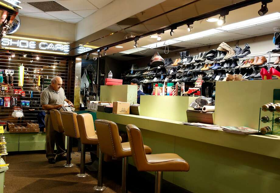 George Shirikian prepares to work on shoes. Photo: Manjula Varghese, The Chronicle