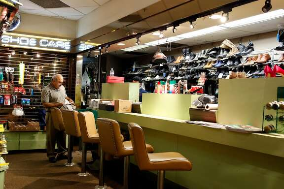 George Sherikian gets set up to begin his work repairing shoes that customers have dropped off to be fixed June 21, 2017 at Westfield Mall in San Francisco, Calif.