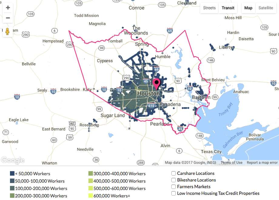 This AllTransit map shows there's a serious mismatch between who is out of work and who can easily reach employers in Harris County.