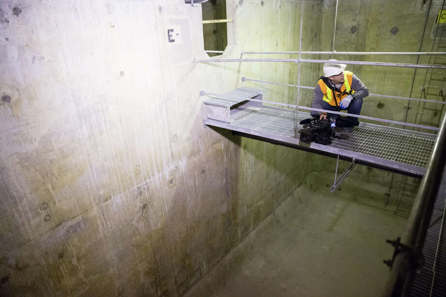 Media tours the inside a pontoon below the center, public transportation lane of the I-90 bridge on Wednesday, June 28, 2017. Photo: GRANT HINDSLEY, SEATTLEPI.COM / SEATTLEPI.COM