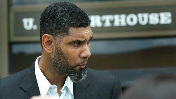 Retired Spurs player Tim Duncan leaves the John H. Wood Jr. Federal Courthouse following the sentencing of his former financial advisor Charles Banks, on June 28, 2017.