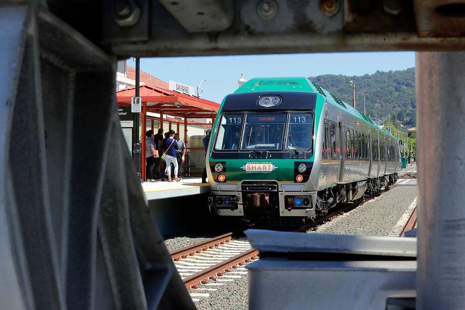 The new Sonoma-Marin Area Rail Transit System, or SMART train, leaves travelers heading for the Sonoma County Airport more than a mile short of their destination. Photo: Michael Macor, The Chronicle