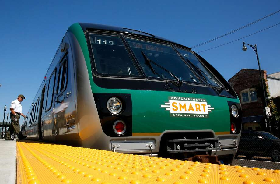Conductor engineer, Mike Clift boards the SMART train as it leaves the Petaluma train station en-route to the San Rafael station, for a demonstration run on Wednesday June 28, 2017 in Petaluma, Ca. Photo: Michael Macor, The Chronicle