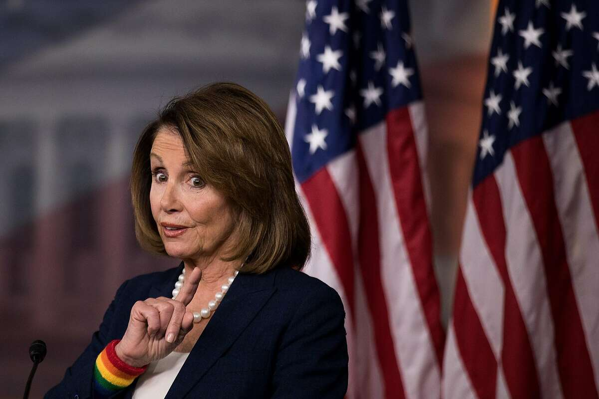 WASHINGTON, DC - JUNE 09: House Minority Leader Nancy Pelosi (D-CA) speaks during her weekly news conference on Capitol Hill, June 9, 2017 in Washington, DC. Pelosi fielded questions about about former FBI Director James Comey's Thursday testimony before the Senate Intelligence Committee.(Photo by Drew Angerer/Getty Images)