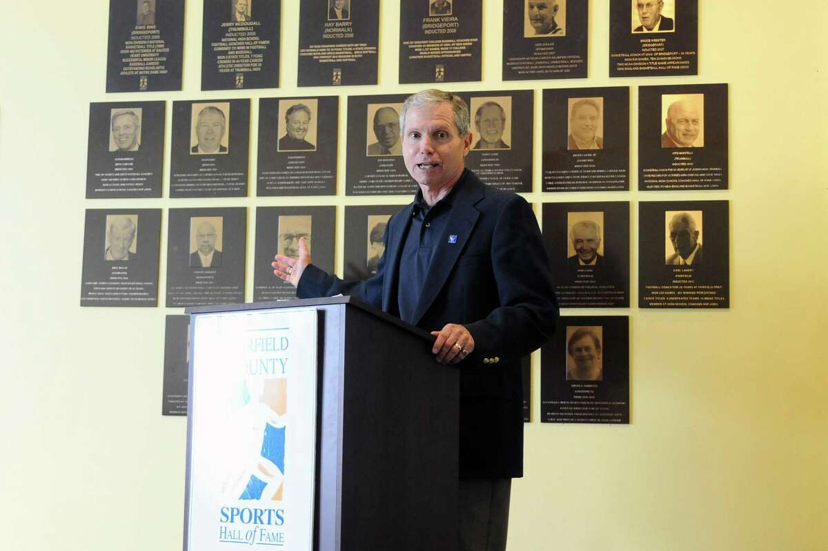 Staples track coach Laddie Lawrence, speaks during the Fairfield County Sports Hallf of Fame induction ceremony inside UConn Stamford in downtown Stamford, Conn. on Wednesday, June 28, 2017. Dolan, one of six inductees to the class of 2017, has amassed more than 750 victories across three sports (soccer, baseball and golf) during his 37 years at Barlow.