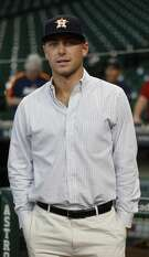 The Houston Astros signed their second round pick, Corbin Martin, who came out during batting practice before the start of an MLB baseball game at Minute Maid Park, Wednesday, June, 28, 2017.  ( Karen Warren / Houston Chronicle )