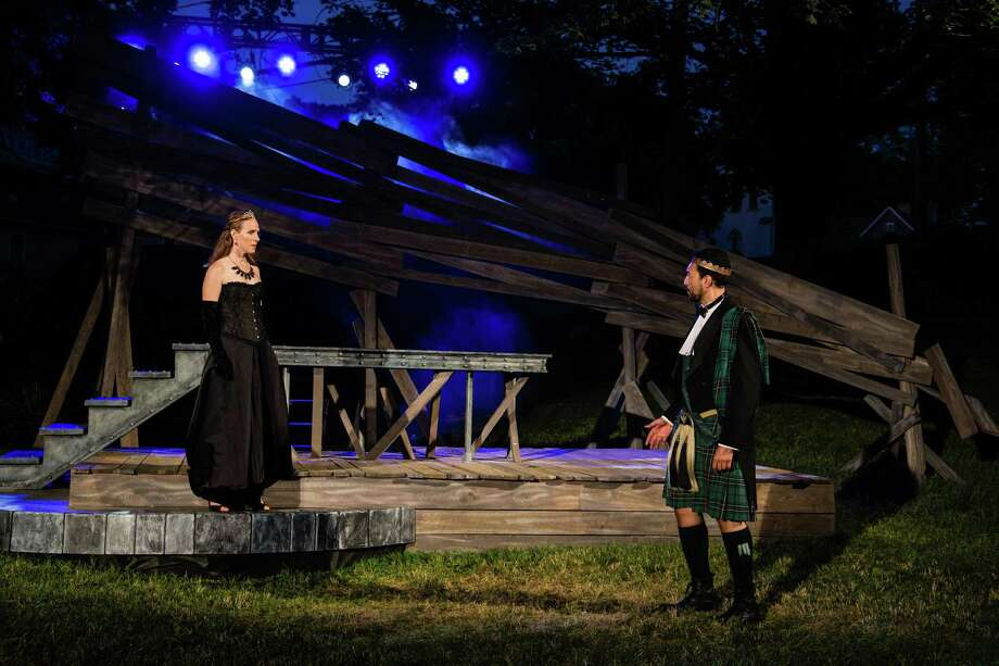 "Winsome Brown as Lady Macbeth and Graham Stevens as Macbeth perform in Shakespeare on the Sound's immersive production of ""Macbeth"" at Pinkney Park in Rowayton. Performances run through July 2. Photo: Maxx Serpica / Contributed Photo / Norwalk Hour contributed"