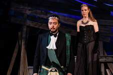 Graham Stevens as Macbeth and Winsome Brown as Lady Macbeth perform in Shakespeare on the Sound's immersive production of Macbeth at Pinkney Park on Rowayton Avenue in Norwalk, Conn. Performances began last week  and run through July 2, 2017.