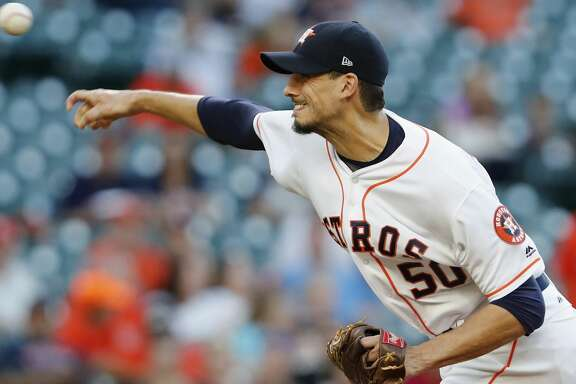 HOUSTON, TX - MAY 24:  Charlie Morton #50 of the Houston Astros pitches in the first inning against the Detroit Tigers at Minute Maid Park on May 24, 2017 in Houston, Texas.  (Photo by Tim Warner/Getty Images)