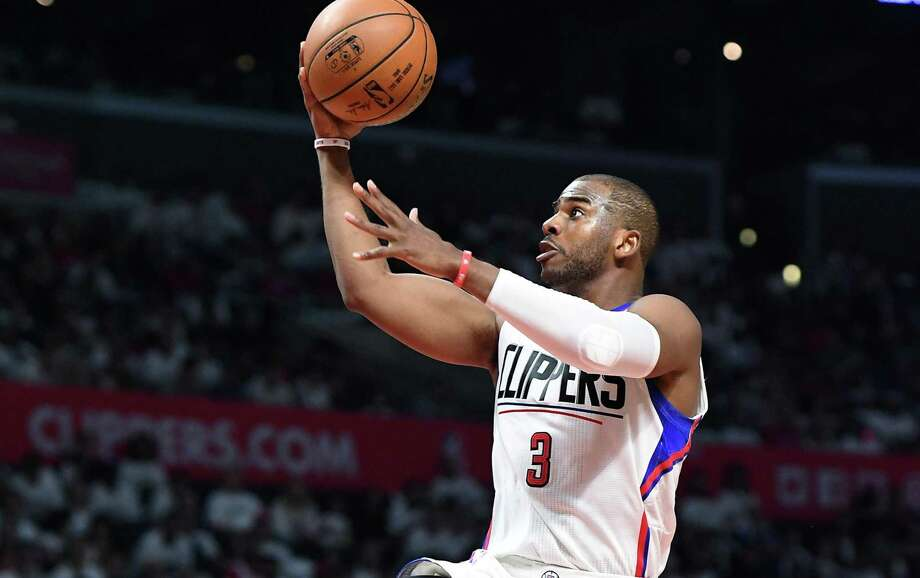 Clippers' Chris Paul drives in for an easy basket against the Utah Jazz in the fourth quarter in Game 1 of the first round of the Western Conference playoffs on April 15, 2017 at the Staples Center in Los Angeles. Photo: Wally Skalij /Los Angeles Times / Los Angeles Times