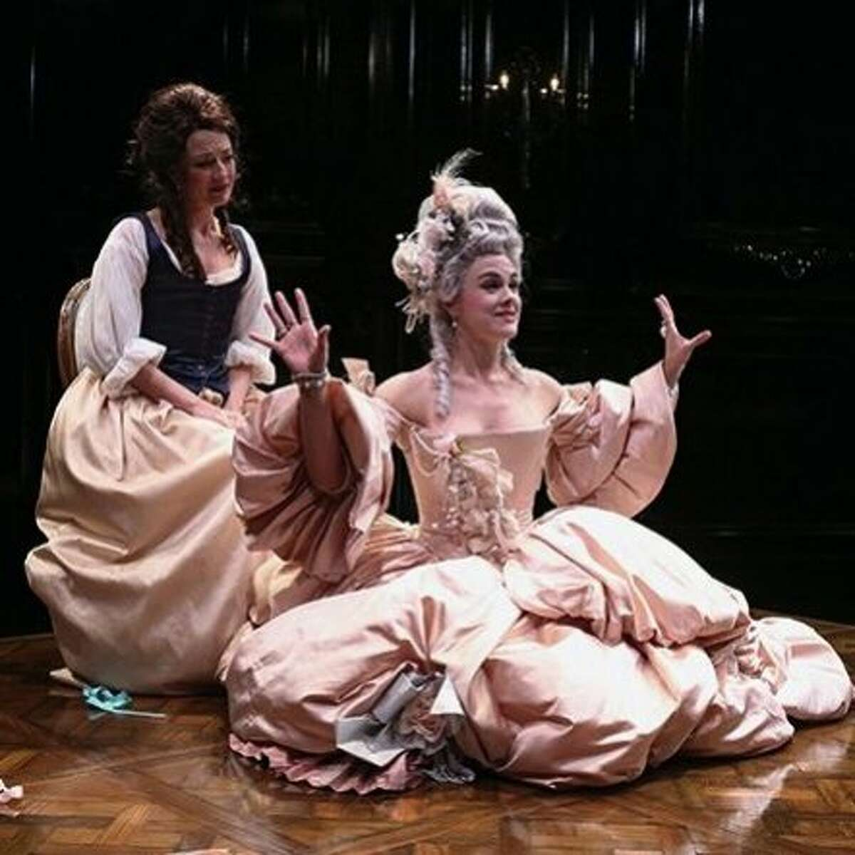"""Lisa Bruneau (left) and Jessica Lynn Carroll in the 2016 Cincinnati Playhouse production of """"The Revolutionists,"""" by Lauren Gunderson. Gunderson's play is one of many initially developed at Playwrights Foundation that went on to full productions."""