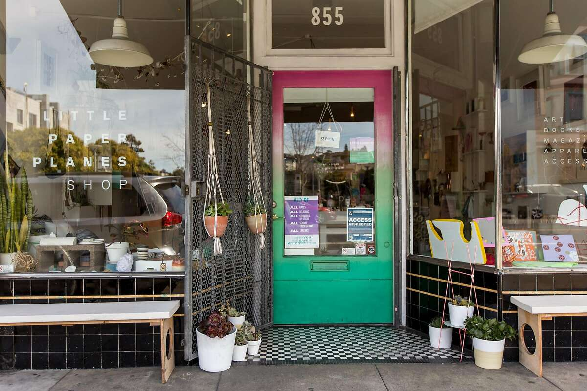 Artistic handcrafted goods fill Little Paper Planes� Valencia Street storefront.