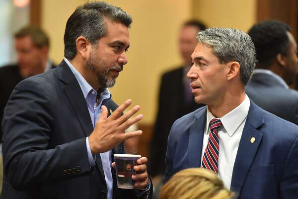 District 1 Councilman Roberto Trevino (left) speaks with Mayor Ron Nirenberg prior to the City Council Fiscal year 2018 Budget Goal-Setting Session Wednesday in the Lonesome Dove Room of the Henry B. Gonzalez Convention Center.